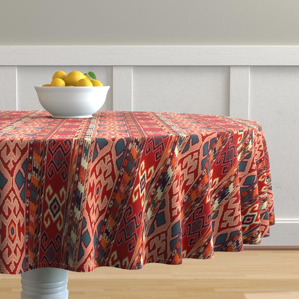 Malay Round Tablecloth featuring kilimrug by letizia_rossi_