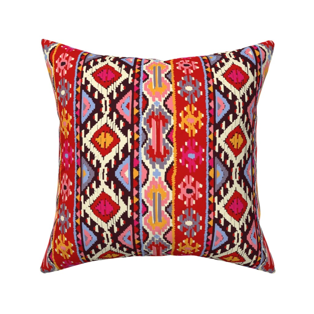 Catalan Throw Pillow featuring kilim1var1 by letizia_rossi_