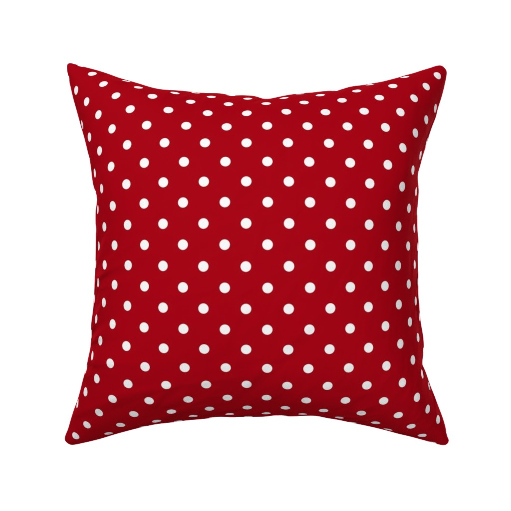 Catalan Throw Pillow featuring Small White Polka Dots on Dark Red by mtothefifthpower