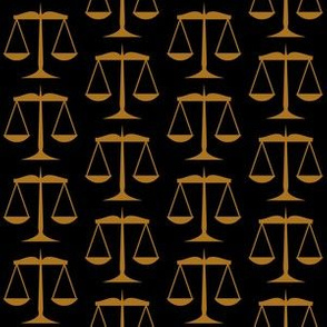 1.5 Inch Matte Antique Gold Scales of Justice on Black