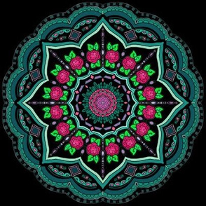 Mandala Project 608 | Floral on Black