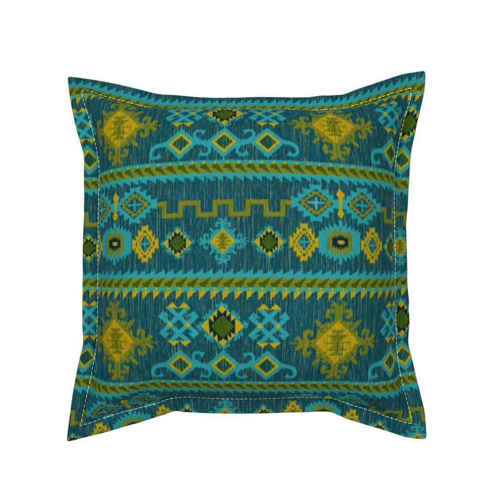 Serama Throw Pillow featuring Kilim in ocean tones by vo_aka_virginiao