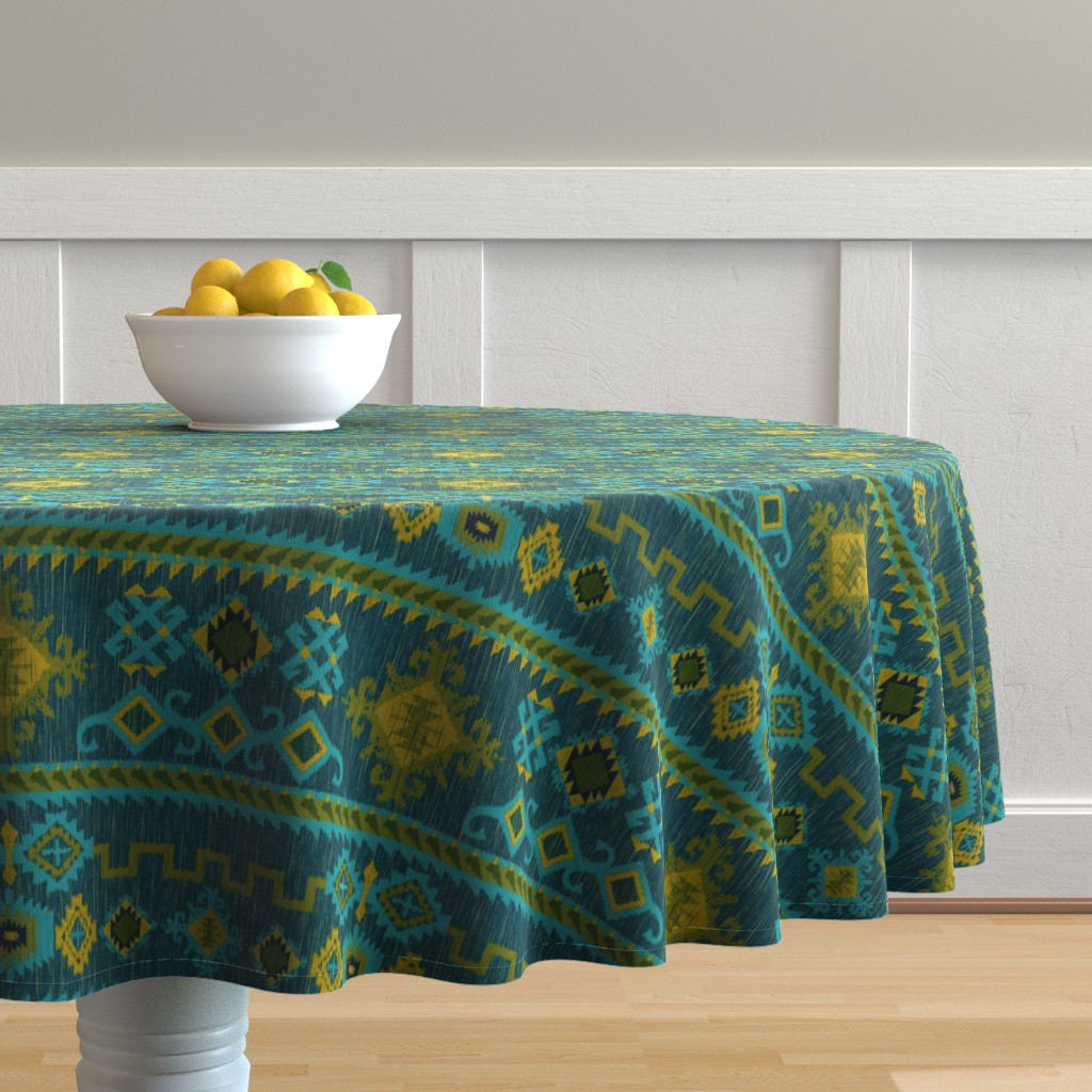 Malay Round Tablecloth featuring Kilim in ocean tones by vo_aka_virginiao