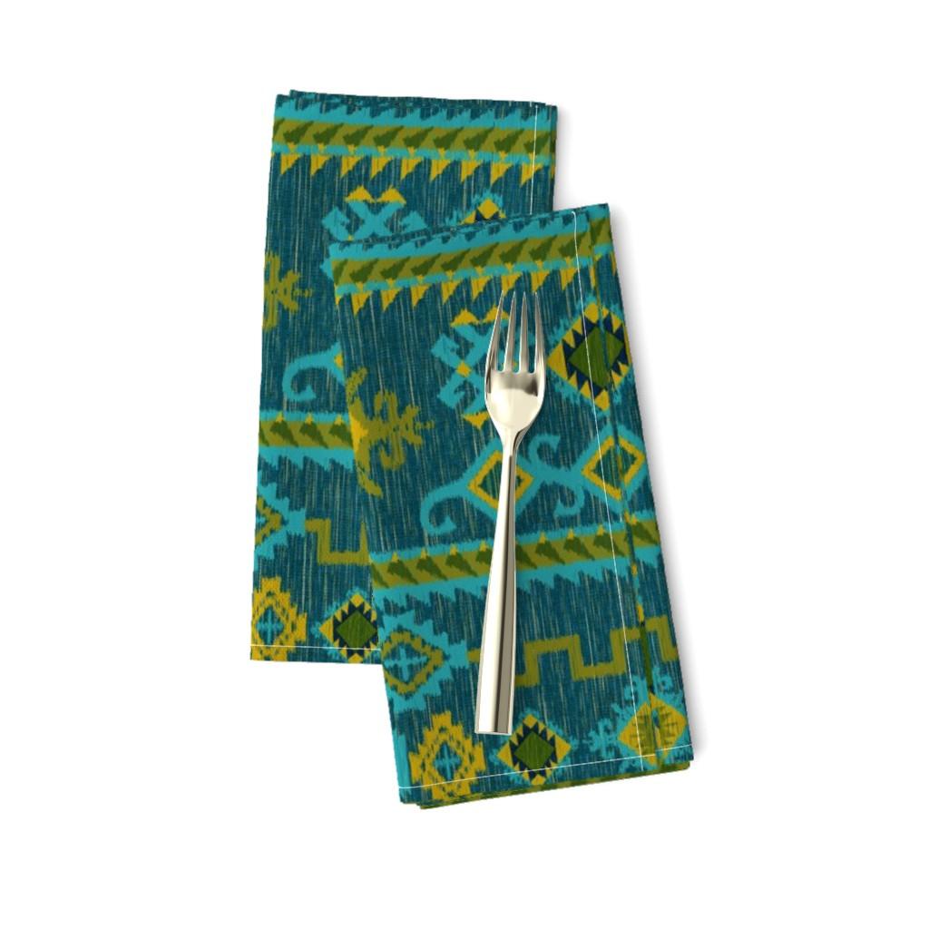 Amarela Dinner Napkins featuring Kilim in ocean tones by vo_aka_virginiao