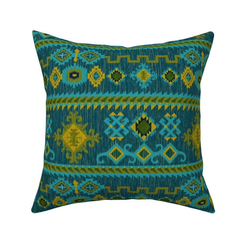Catalan Throw Pillow featuring Kilim in ocean tones by vo_aka_virginiao