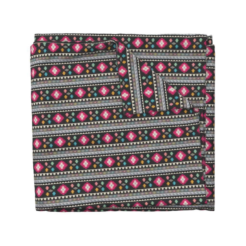 Wyandotte Duvet Cover featuring Kilim Me Softly by thewellingtonboot