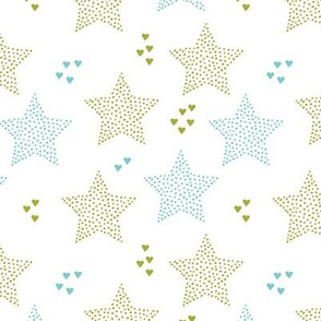 Twinkle twinkle little star cute baby nursery or christmas theme print in blue and g