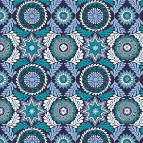 Greek Mandalas in Blue and Teal