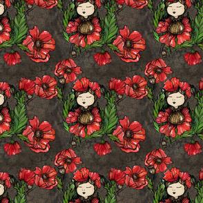 Poppy Dream_Little girl_Flower field_Poppy field.