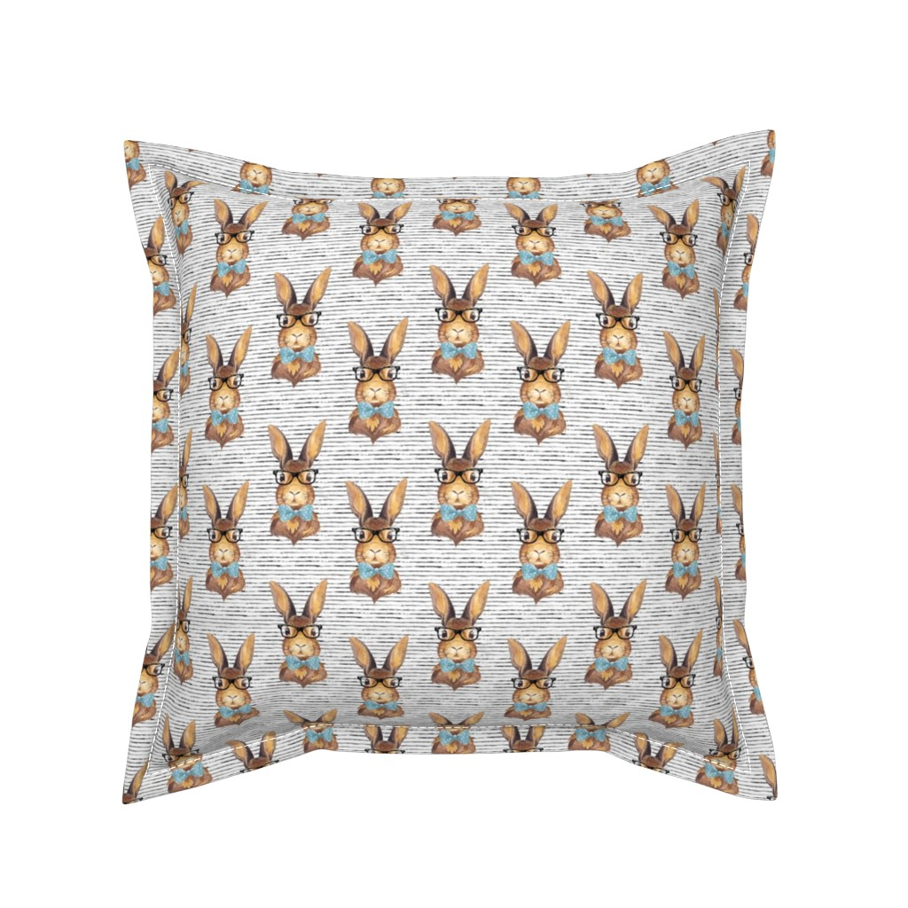 """Serama Throw Pillow featuring 4"""" BUNNY WITH GLASSES /  STRIPES by shopcabin"""