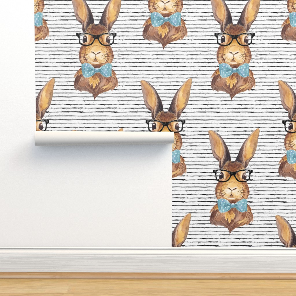 """Isobar Durable Wallpaper featuring 4"""" BUNNY WITH GLASSES /  STRIPES by shopcabin"""