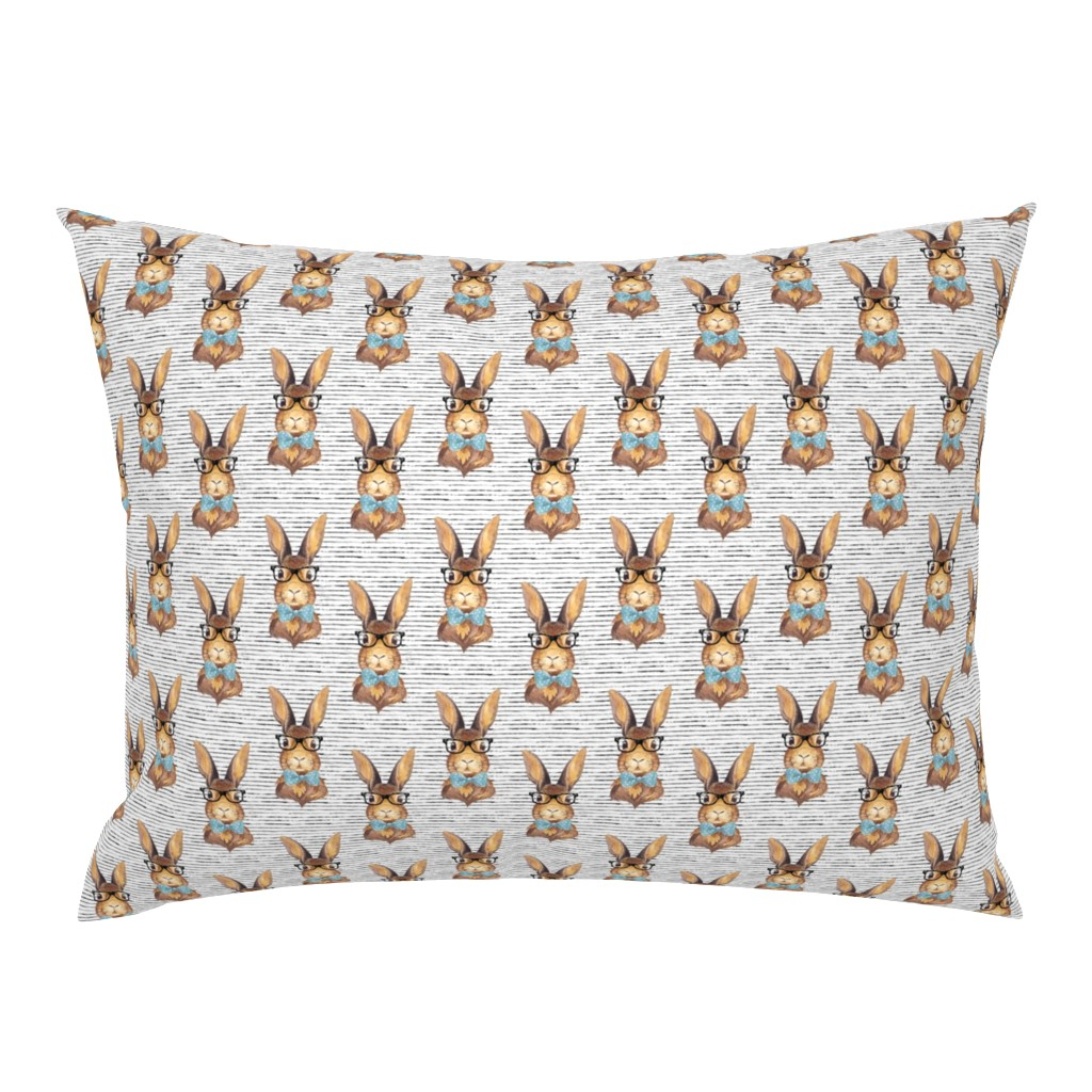 """Campine Pillow Sham featuring 4"""" BUNNY WITH GLASSES /  STRIPES by shopcabin"""
