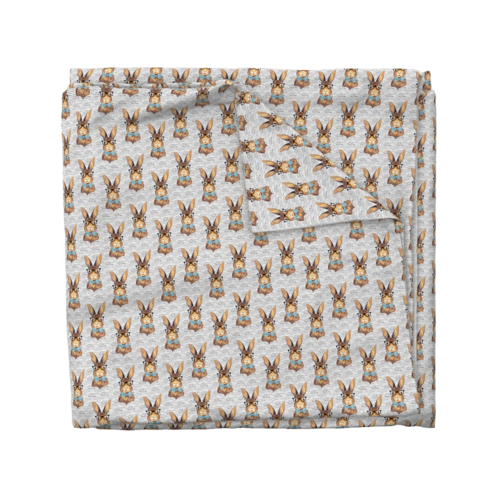 """Wyandotte Duvet Cover featuring 4"""" BUNNY WITH GLASSES /  STRIPES by shopcabin"""