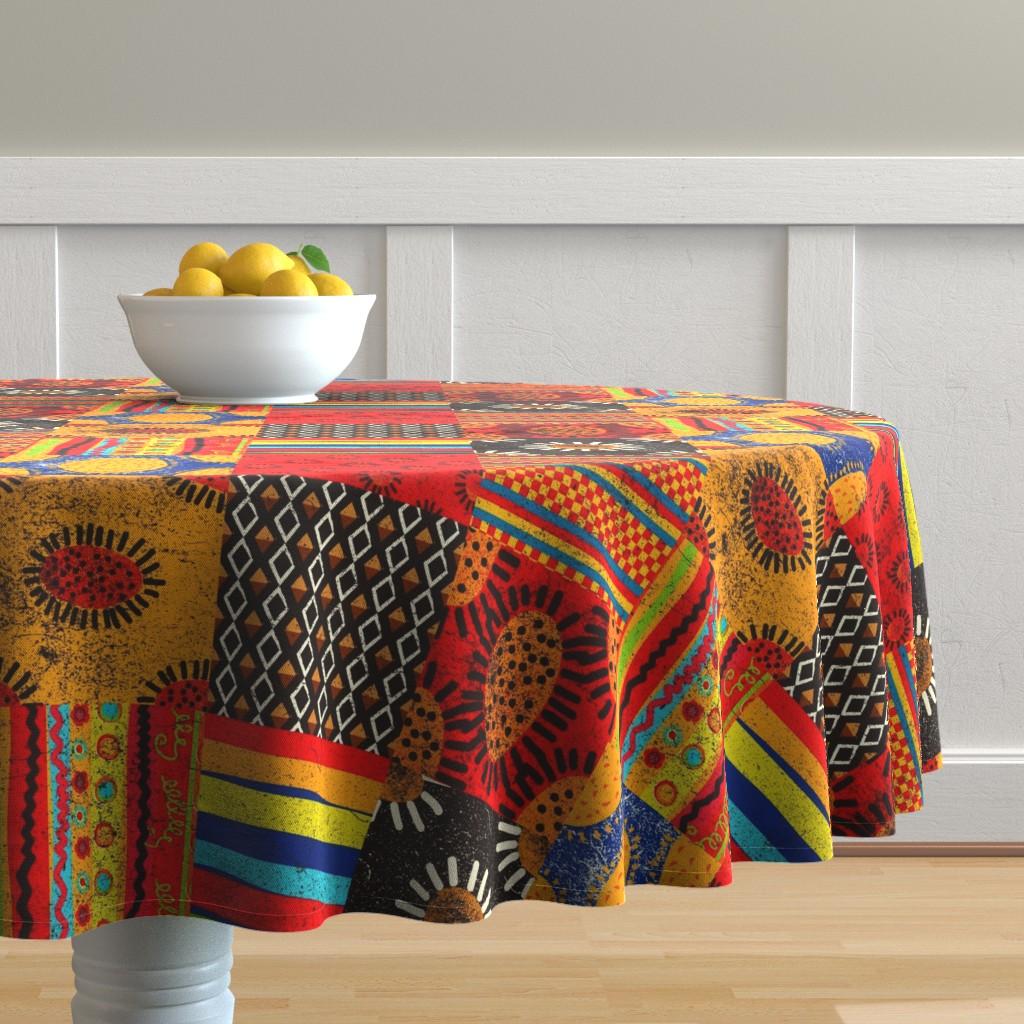 Malay Round Tablecloth featuring Crazy Kilim by orangefancy