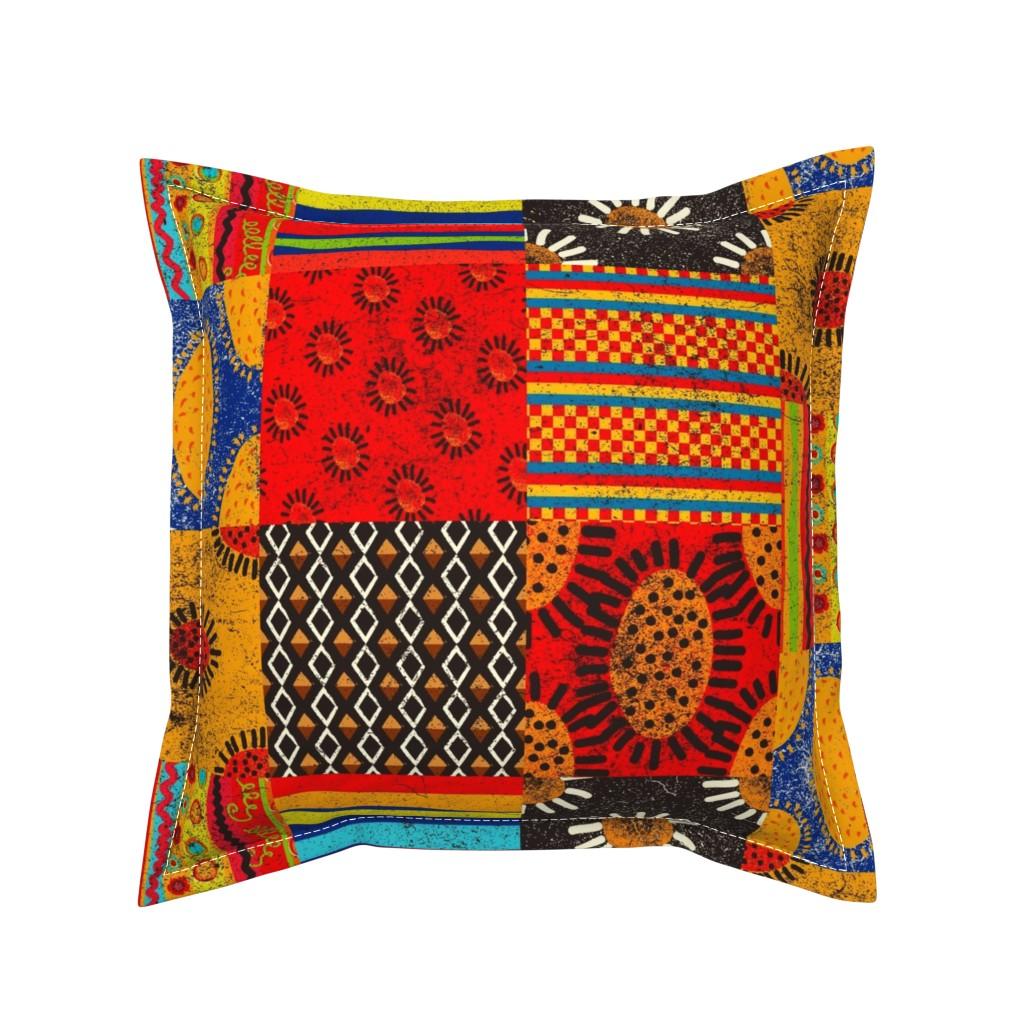 Serama Throw Pillow featuring Crazy Kilim by orangefancy