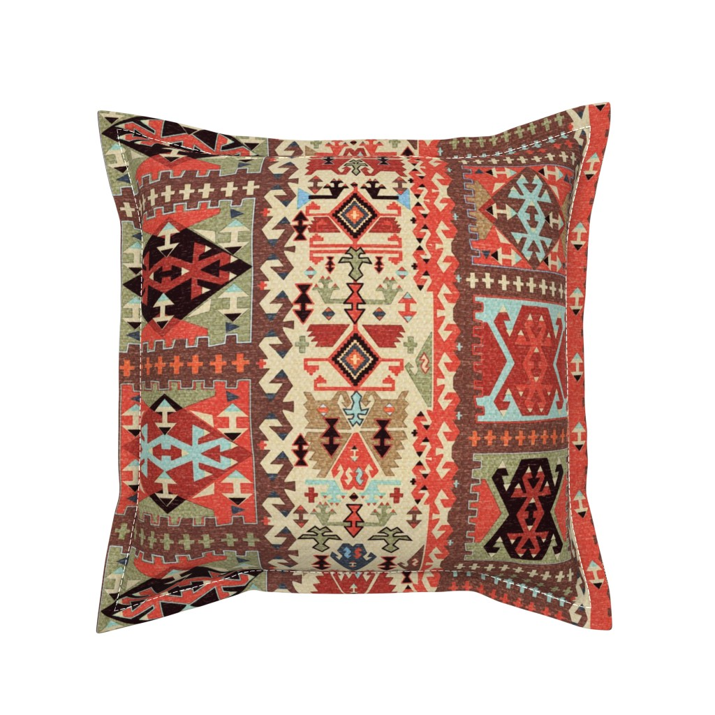 Serama Throw Pillow featuring Turkish Kilim 2 by vinpauld