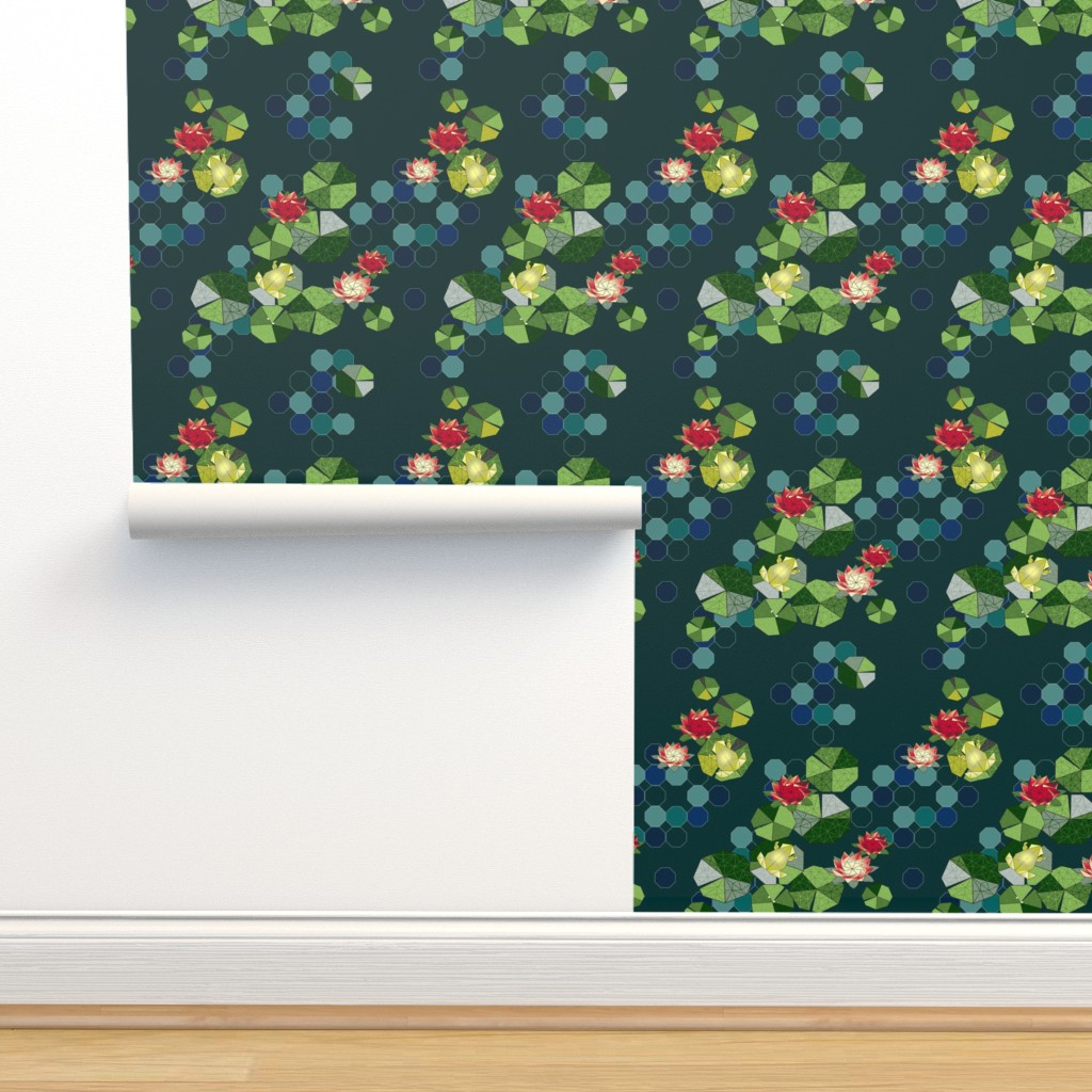 Isobar Durable Wallpaper featuring Lotus Pond Origami by cinz