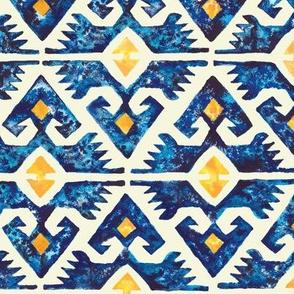Thunderbird Kilim Watercolor //  bohemian tribal kilim arrows aztec boho diamond watercolor fabric