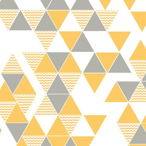 Abstract Kilim triangles yellow and grey