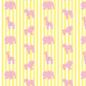 Animal Cookies Pink on Yellow Stripes