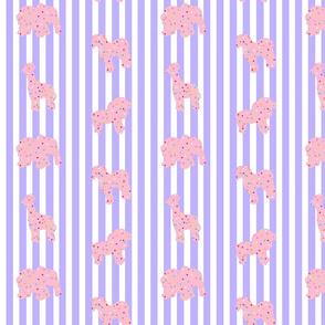 Animal Cookies Pink on Purple Stripes