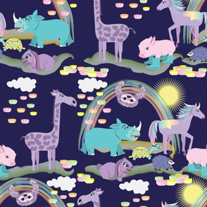 Hare Raising Race, Violet, Animals, Tortoise and the Hare, Turtle, Hedgehog, Giraffe, Rhino, Rabbit, Unicorn, Sloth