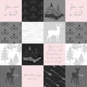 """4.5"""" Always Quilt - Pink and greys - - wizard quotes"""