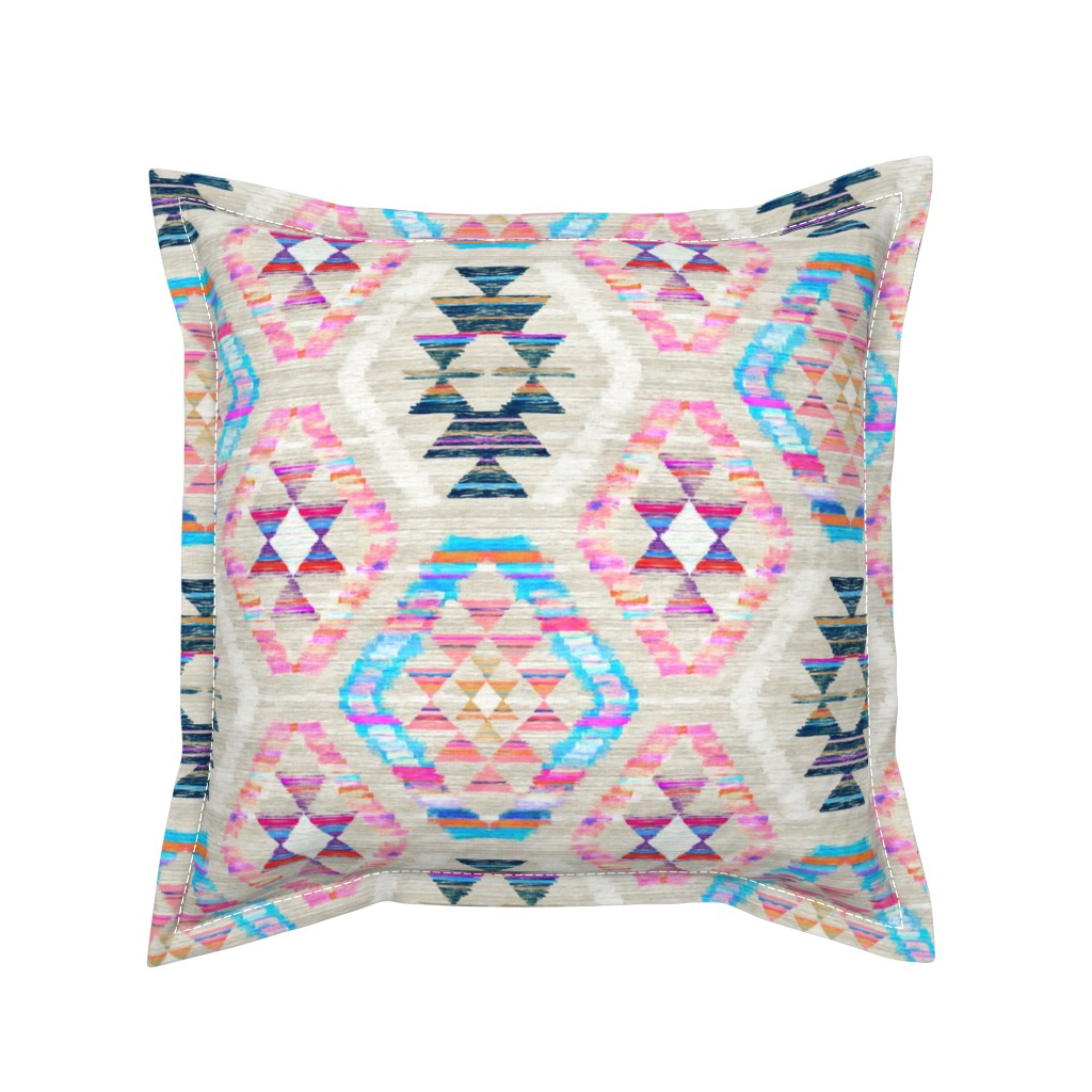 Serama Throw Pillow featuring Woven Textured Pastel Kilim - cool cream by micklyn