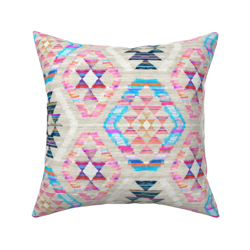 Catalan Throw Pillow featuring Woven Textured Pastel Kilim - cool cream by micklyn