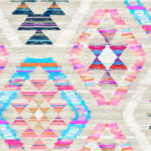 Large Scale Woven Textured Pastel Kilim - cool cream