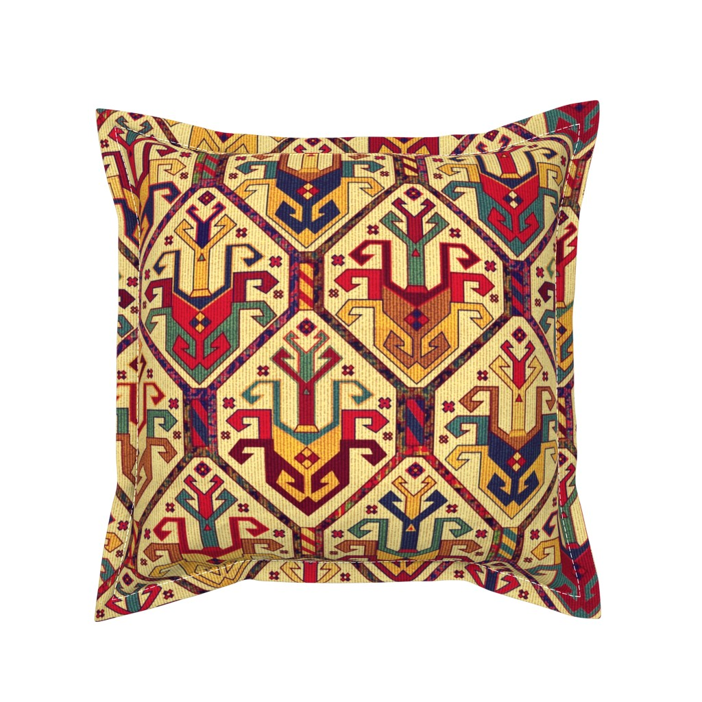 Serama Throw Pillow featuring KILIM Fabric by chicca_besso