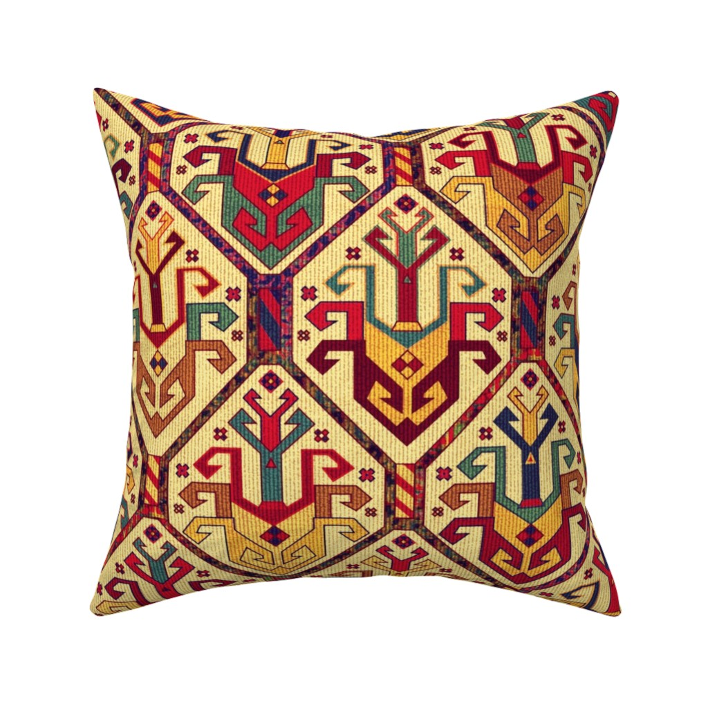 Catalan Throw Pillow featuring KILIM Fabric by chicca_besso