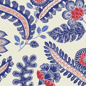 Indian chintz (blue and red)