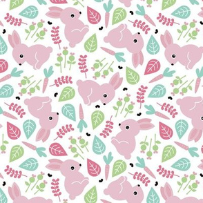 Bunny love botanical garden spring easter design pink green