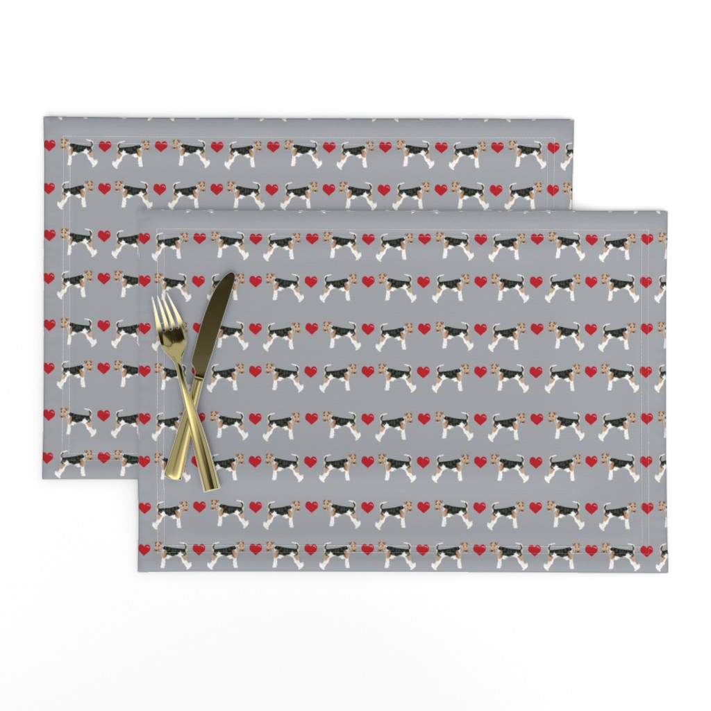 Lamona Cloth Placemats featuring wire fox love hearts dog breed fabric grey by petfriendly