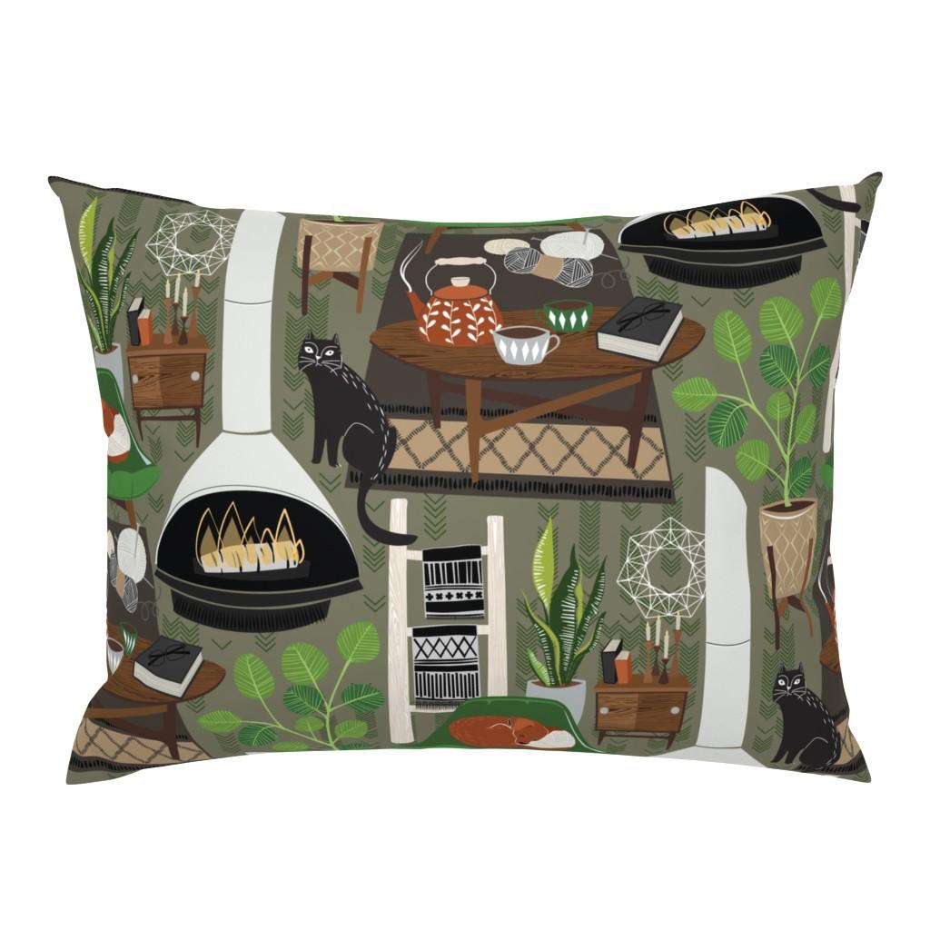 Campine Pillow Sham featuring scandi hygge in emerald by michaelzindell