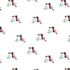 Tropical Toucan birds rainforest summer design mint pink