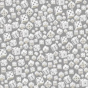 3D white dices.  Abstract seamless pattern.