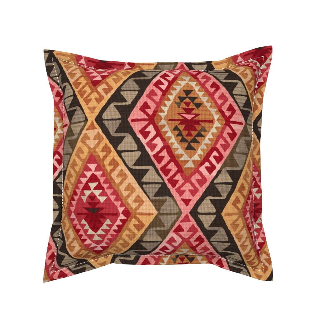 Serama Throw Pillow featuring Kilim by byre_wilde
