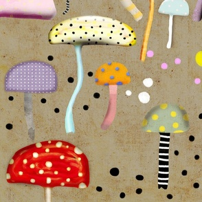 Old Texture Mushrooms Rupydetequila Polka Dots Fabric Wallpaper Gift Wrap 2018