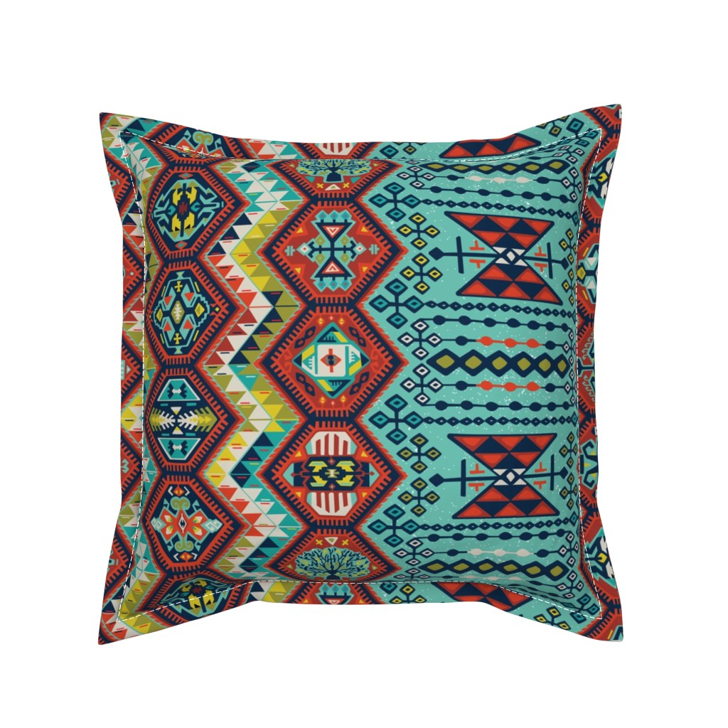 Serama Throw Pillow featuring Turkish Kilim  by jillcookdesigns