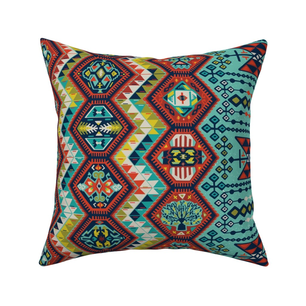 Catalan Throw Pillow featuring Turkish Kilim  by jillcookdesigns