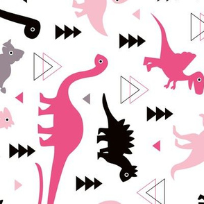 Adorable dino girls fabric with black and pink dinosaur geometric triangles and funky animal illustration theme for kids rotated