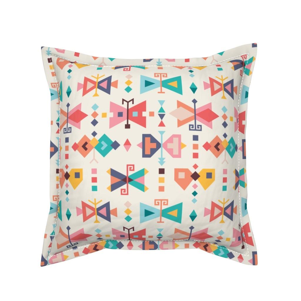 Serama Throw Pillow featuring Kilim-butterflies by la_fabriken