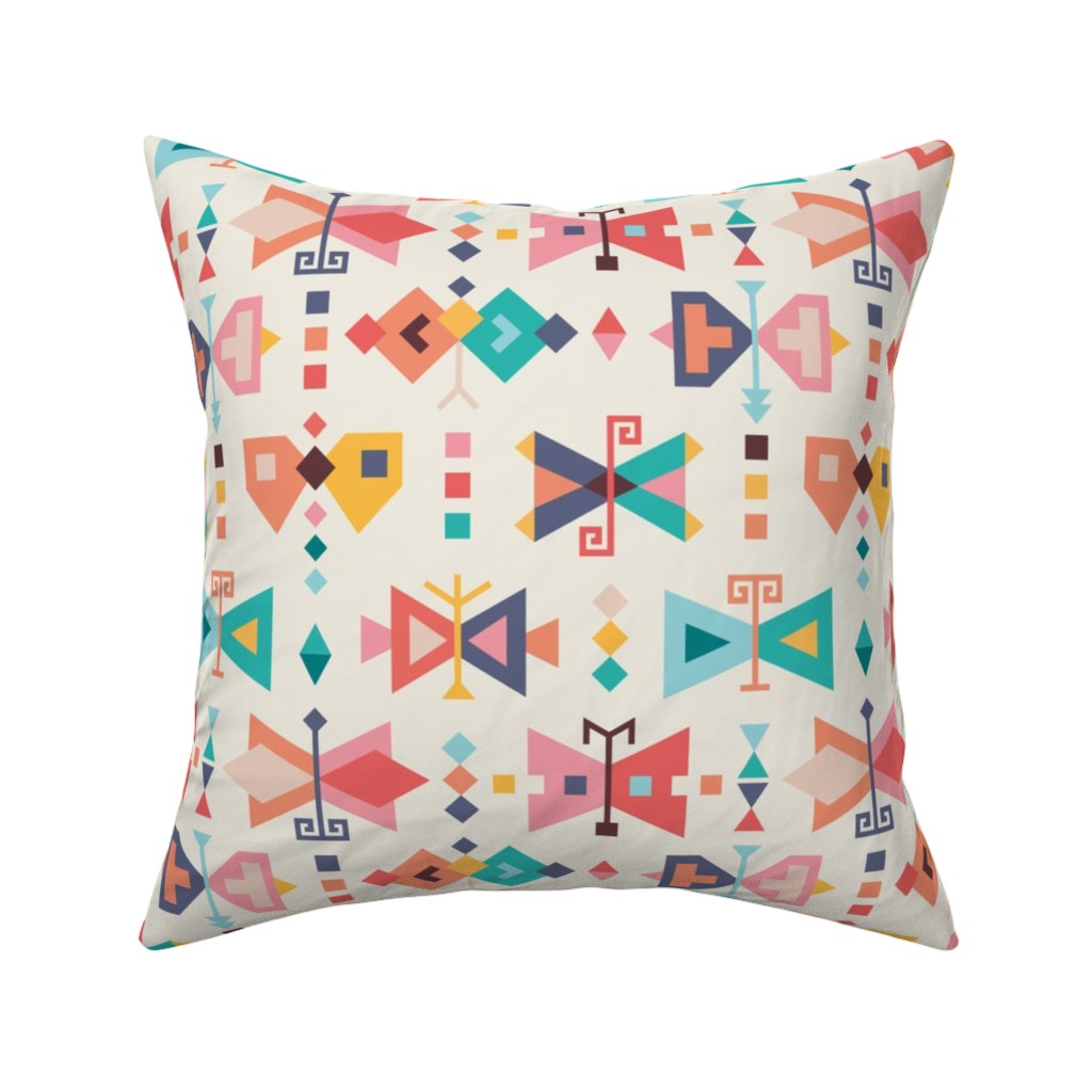 Catalan Throw Pillow featuring Kilim-butterflies by la_fabriken