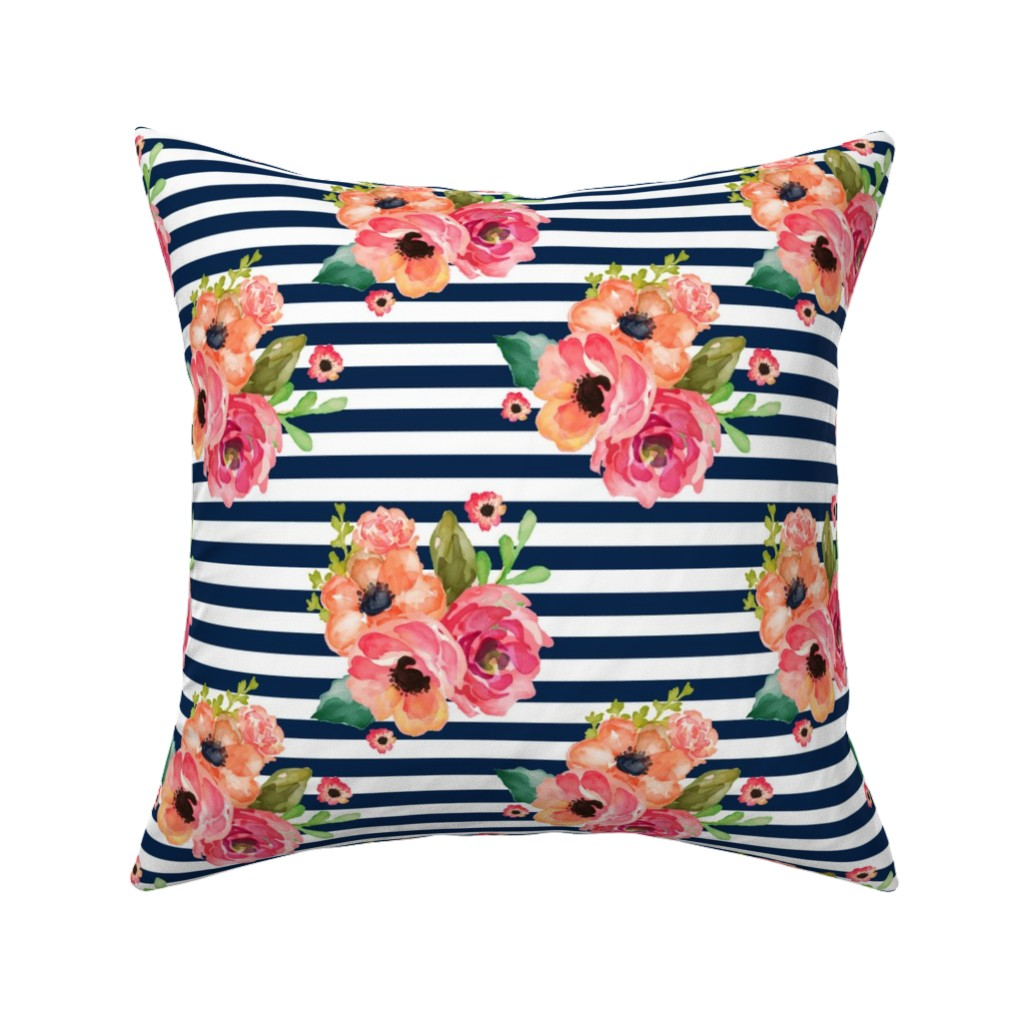 """Catalan Throw Pillow featuring 8"""" Floral Polka Navy Stripes by shopcabin"""