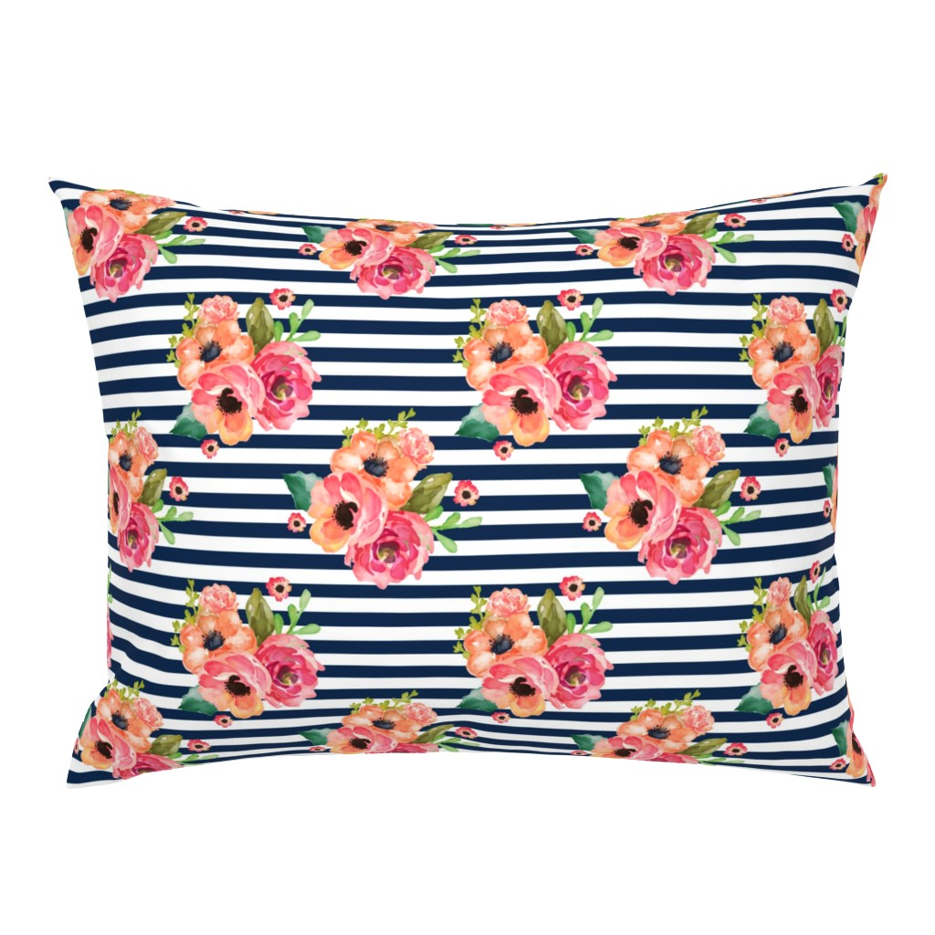 """Campine Pillow Sham featuring 8"""" Floral Polka Navy Stripes by shopcabin"""