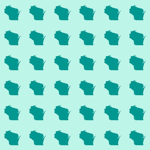 "mini  Wisconsin silhouette. 3"" teal on mint"