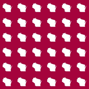 "mini Wisconsin silhouette - 3"" white on cranberry"