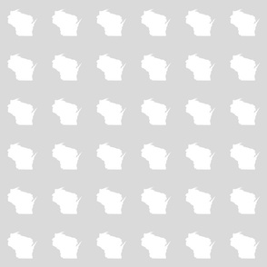 "mini Wisconsin silhouette - 3"" white on pale grey"